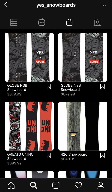 Yes Snowboards Instagram Shop
