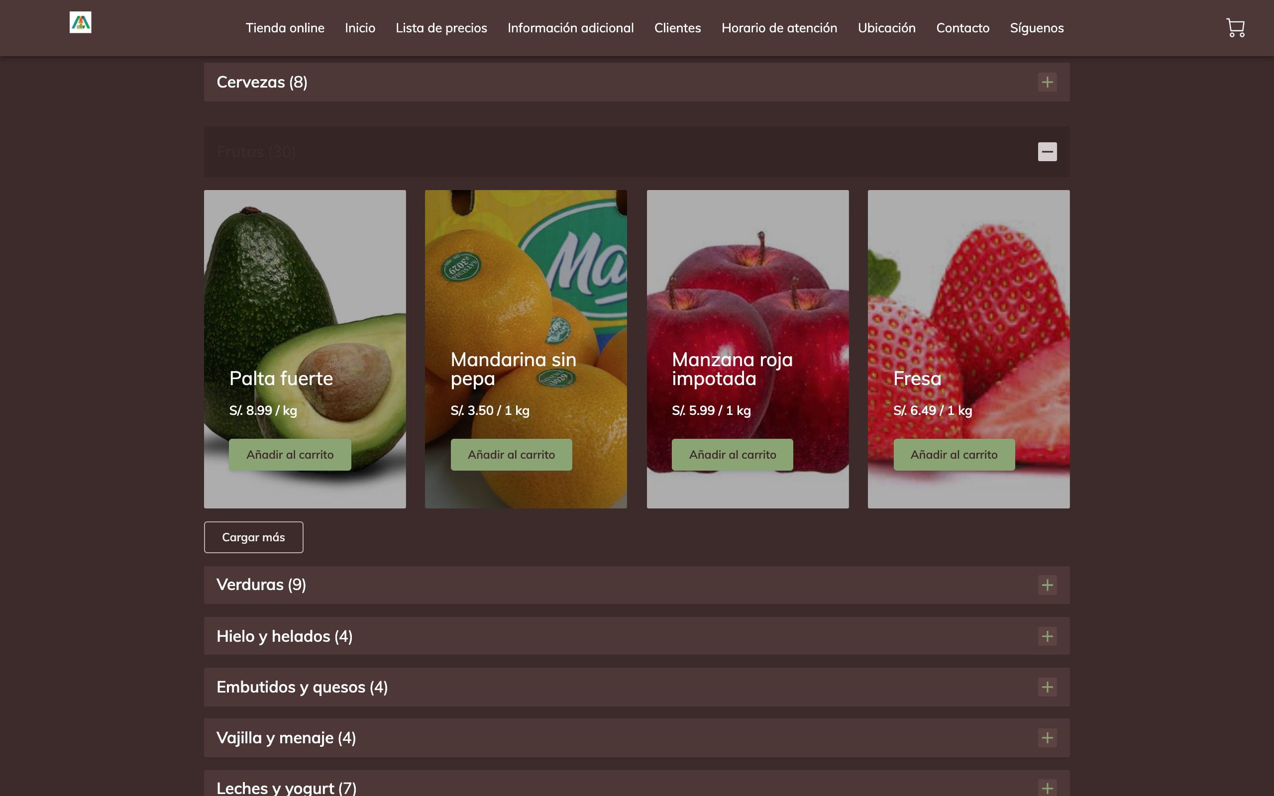 Supermercados Misti   Productos