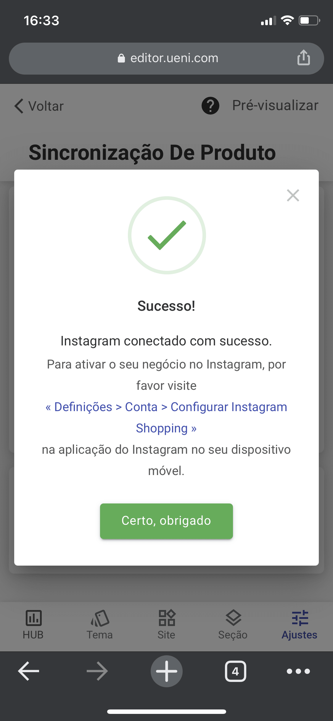Instagram Successful Connection