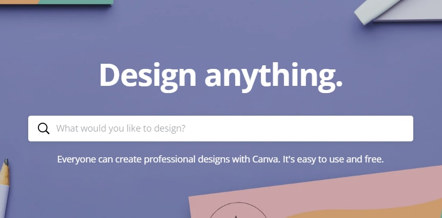 A Screenshot of the Canva homepage