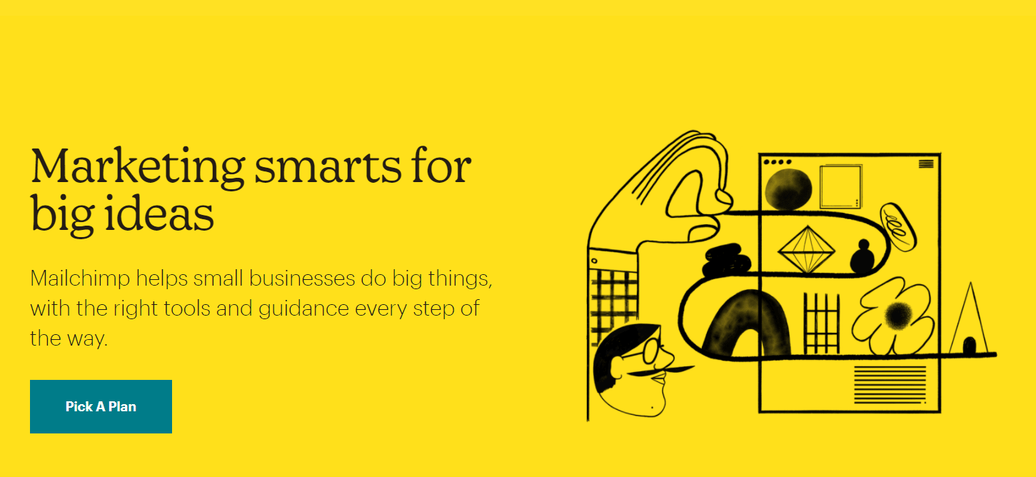 The Sign Up Screen for Mailchimp