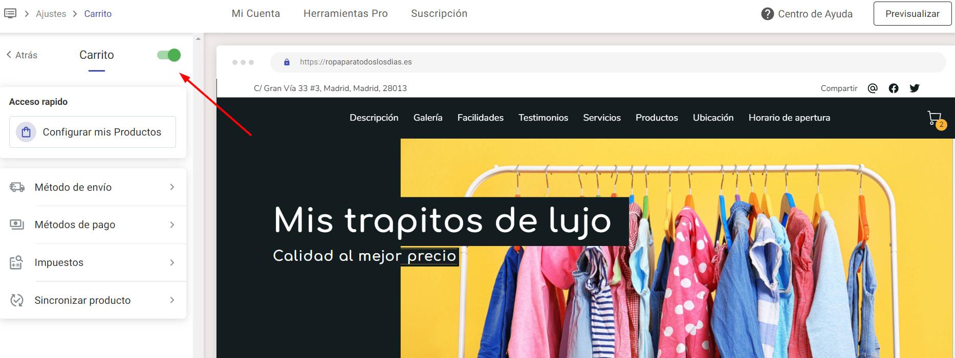 La barra de Carrito activada en Ajustes, en Editar Web.