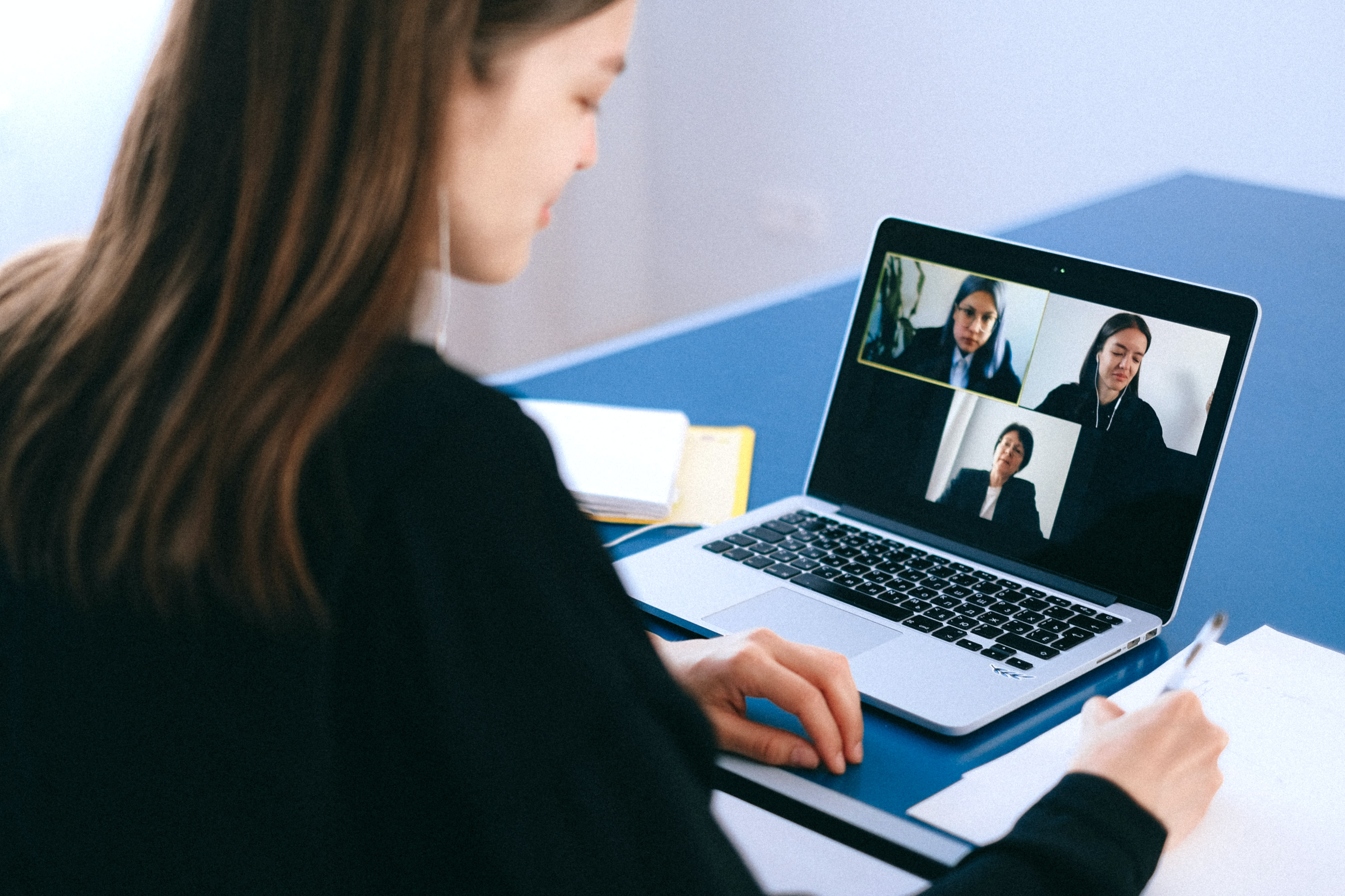 A group of people playing a virtual team building game